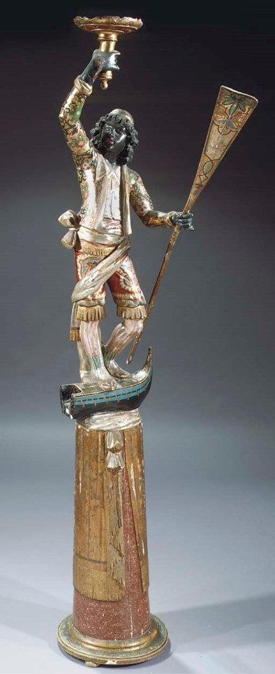 A Venetian carved and polychro