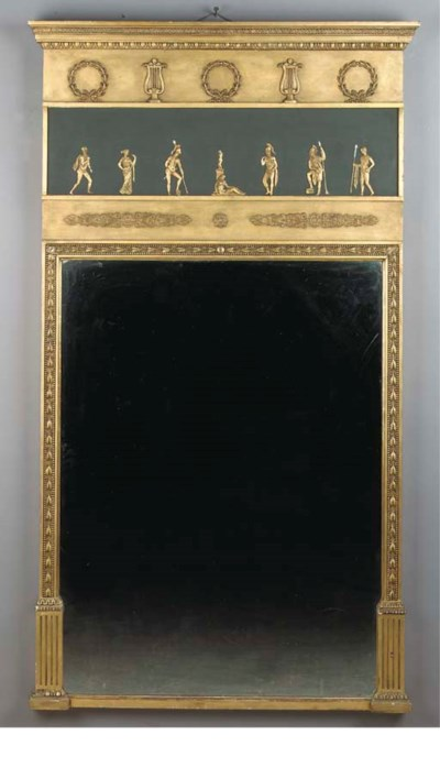 A gilt gesso and green-painted