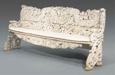 A Dutch grey-painted carved wo