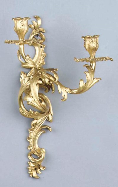 A pair of ormolu two-light wal
