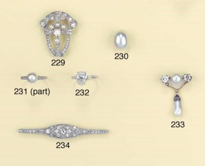A PEARL AND DIAMOND RING AND F