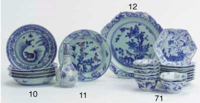 A late Ming blue and white lot
