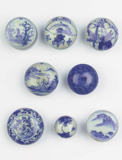 Eight blue and white 'Hatcher