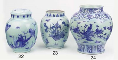 A Ming blue and white jar, gua
