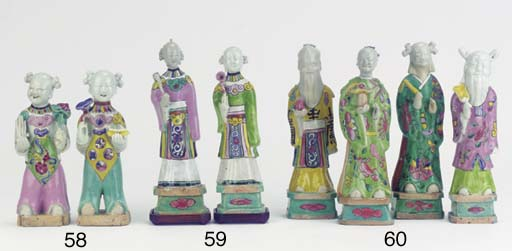 Four famille rose figures