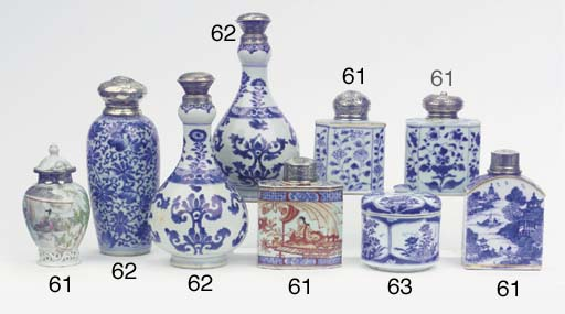 (11) An assorted lot of blue and white silver-mounted tea-caddies