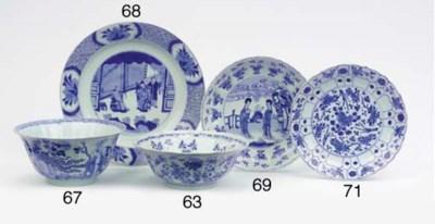 A blue and white saucer, tea-c