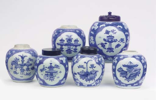 A group of six blue and white