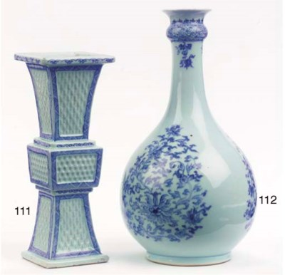 A blue and white beaker vase,