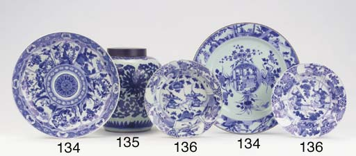 Two fine blue and white dishes
