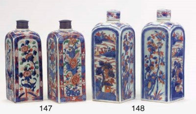 A pair of square Imari bottles