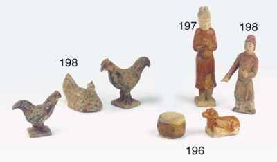 Three pottery figures of chick