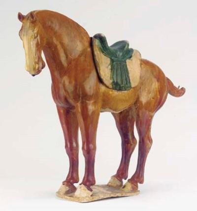 A sancai-glazed pottery figure