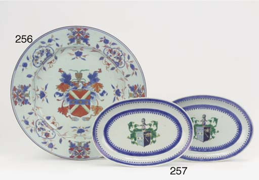 A pair of armorial oval dishes