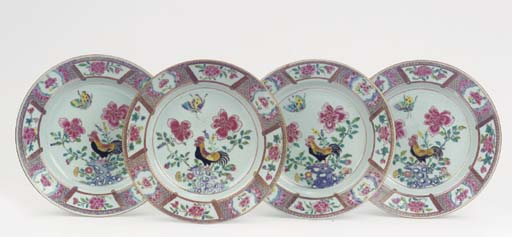 A set of four famille rose 'co