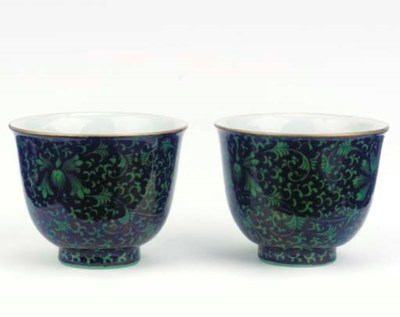 A pair of black-ground green-e