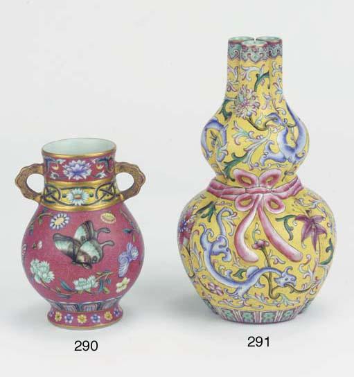 A famille rose 'graviata' vase