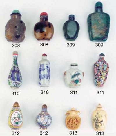 Five porcelain snuff bottles