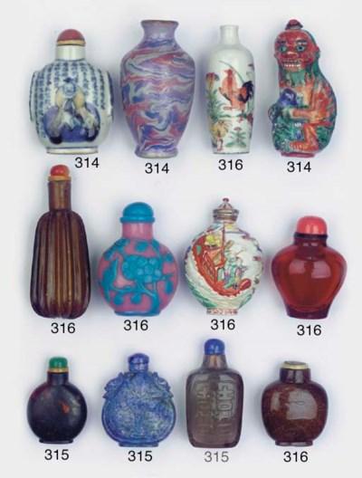Four hardstone snuff bottles
