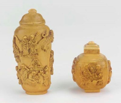 Two ivory snuff bottles