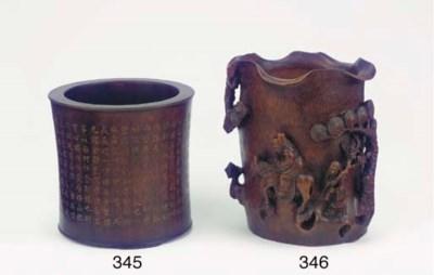 A wood brushpot, Bitong