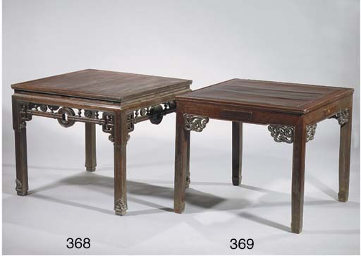 A square stained wood table