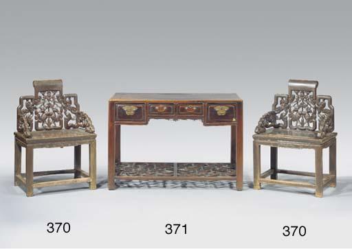 A pair of hardwood throne chai