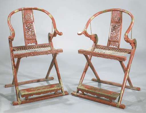 A pair of red lacquered foldin