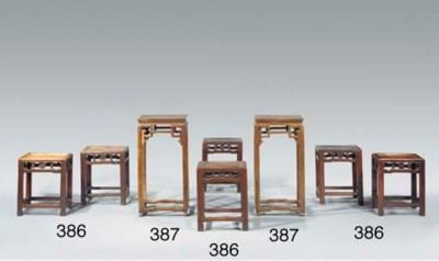A set of six rectangular stain