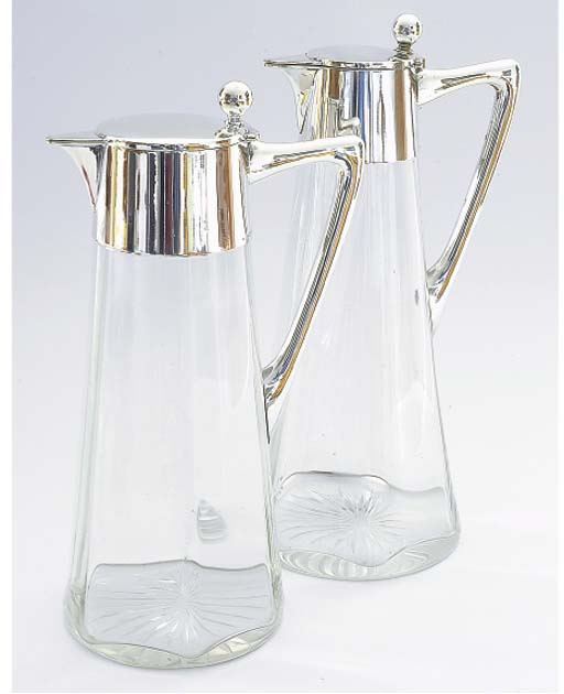 TWO GERMAN SILVER MOUNTED GLAS