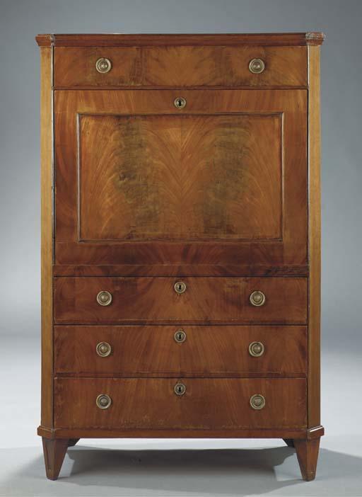 A Dutch mahogany secretaire a abattant