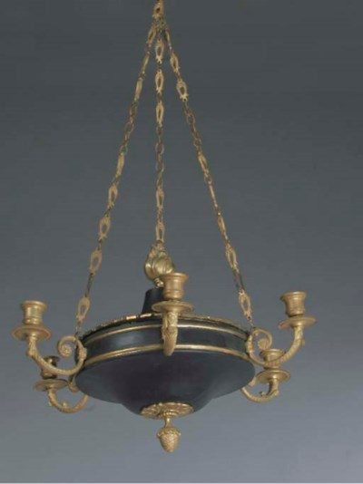 A gilt and patinated brass six