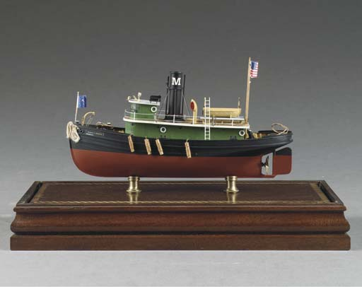A WOODEN FULL HULL DISPLAY MODEL OF THE AMERICAN HARBOUR TUG BESSIE C. MESECK