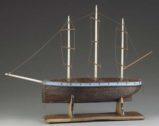 A RIGGED WOODEN MODEL OF A THREE-MASTED VESSEL SUZANNE