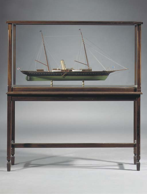 A WELL DETAILED STATIC DISPLAY MODEL OF THE AMERICAN STEAM YACHT CORSAIR (1890)