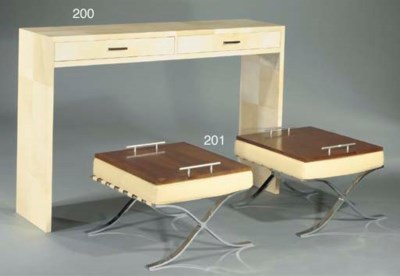 A LEATHER LINED CONSOLE TABLE