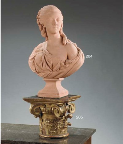 A FRENCH PAINTED PLASTER BUST