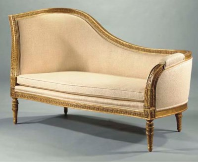 A FRENCH GILT-GESSO CHAISE-LON