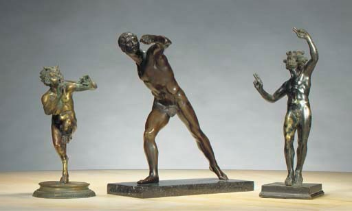 THREE BRONZE FIGURES AFTER THE