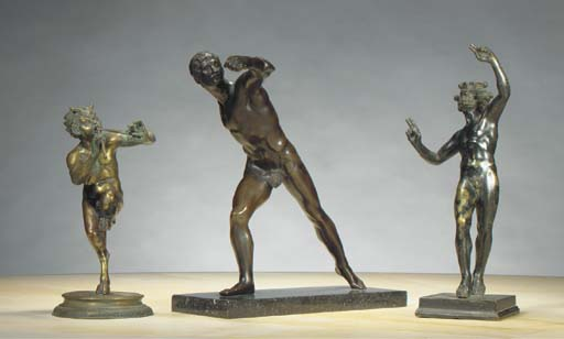 THREE BRONZE FIGURES AFTER THE ANTIQUE