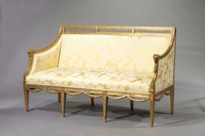 A giltwood bench