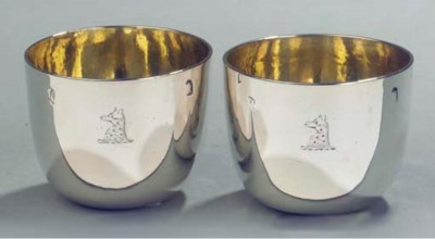 Two English silver tumbler cup