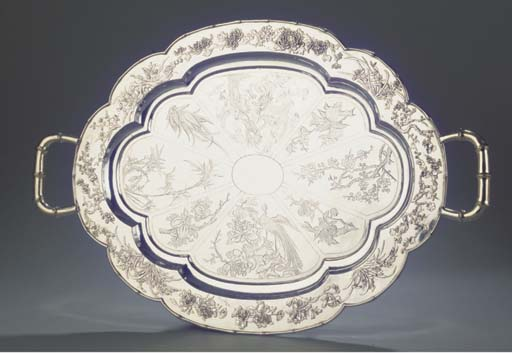 A Chinese silver tray on four