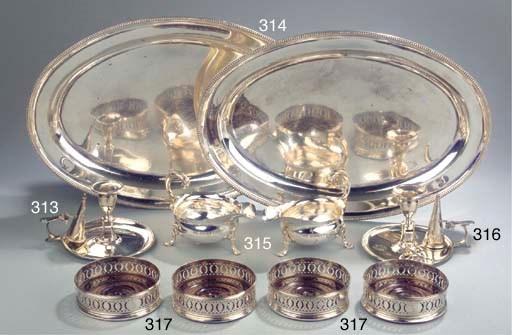 A set of four English silver w