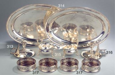 A set of four English silver w