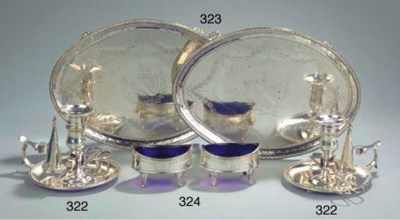 A pair of English silver flat