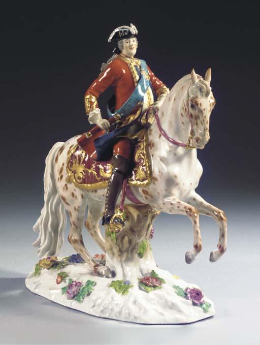 A Meissen porcelain equestrian