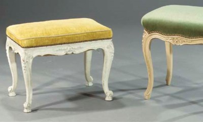 A white-painted stool