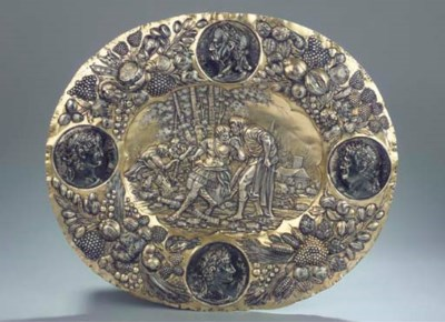 A large German silver and parc