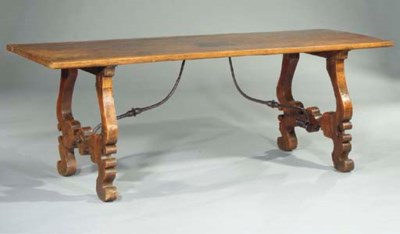 A SPANISH WALNUT AND WROUGHT-I